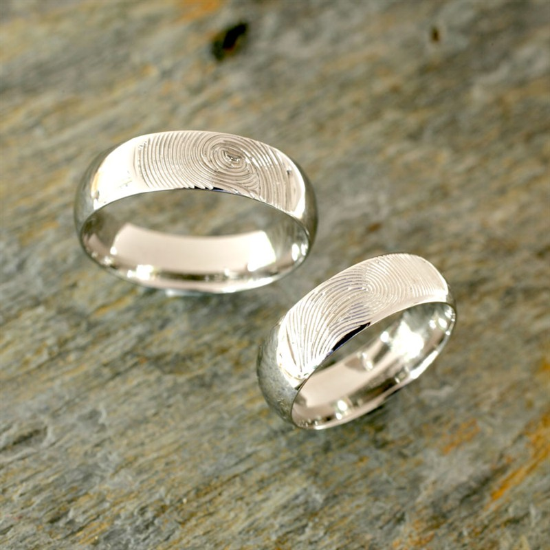 Ocelové snubní prsteny s otisky prstů - 8003