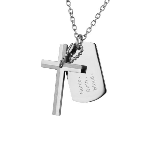 Přívěsek chirurgická ocel kříž s destičkou PSDT01 (Dárkové balení zdarma)