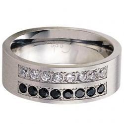 Prsten Couple RSCL14-CZ-JET (Ocelový prsten Couple RSCL14-CZ-JET)