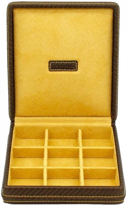 Kazeta na manžetové knoflíčky Friedrich Lederwaren Carbon 32053-8 - rozměr 15