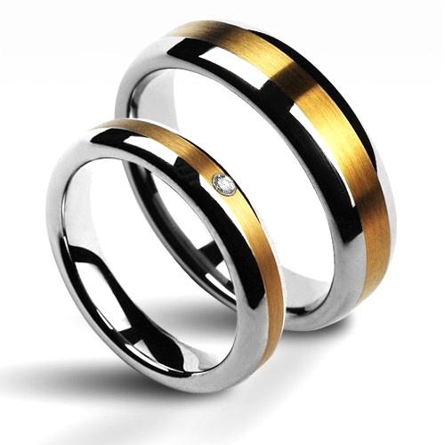 Snubní prsteny wolfram se zirkonem - pár NWF1011-Zr