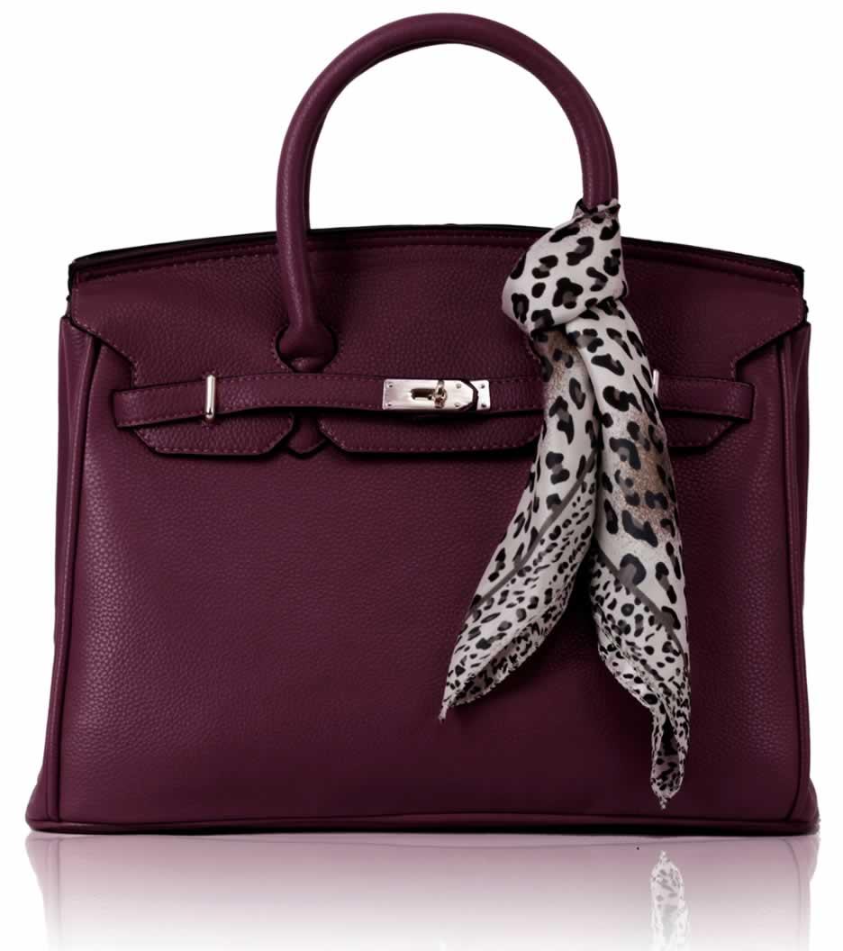 Kabelka LS0065 - Luxury Purple Tote Bag With Scarf