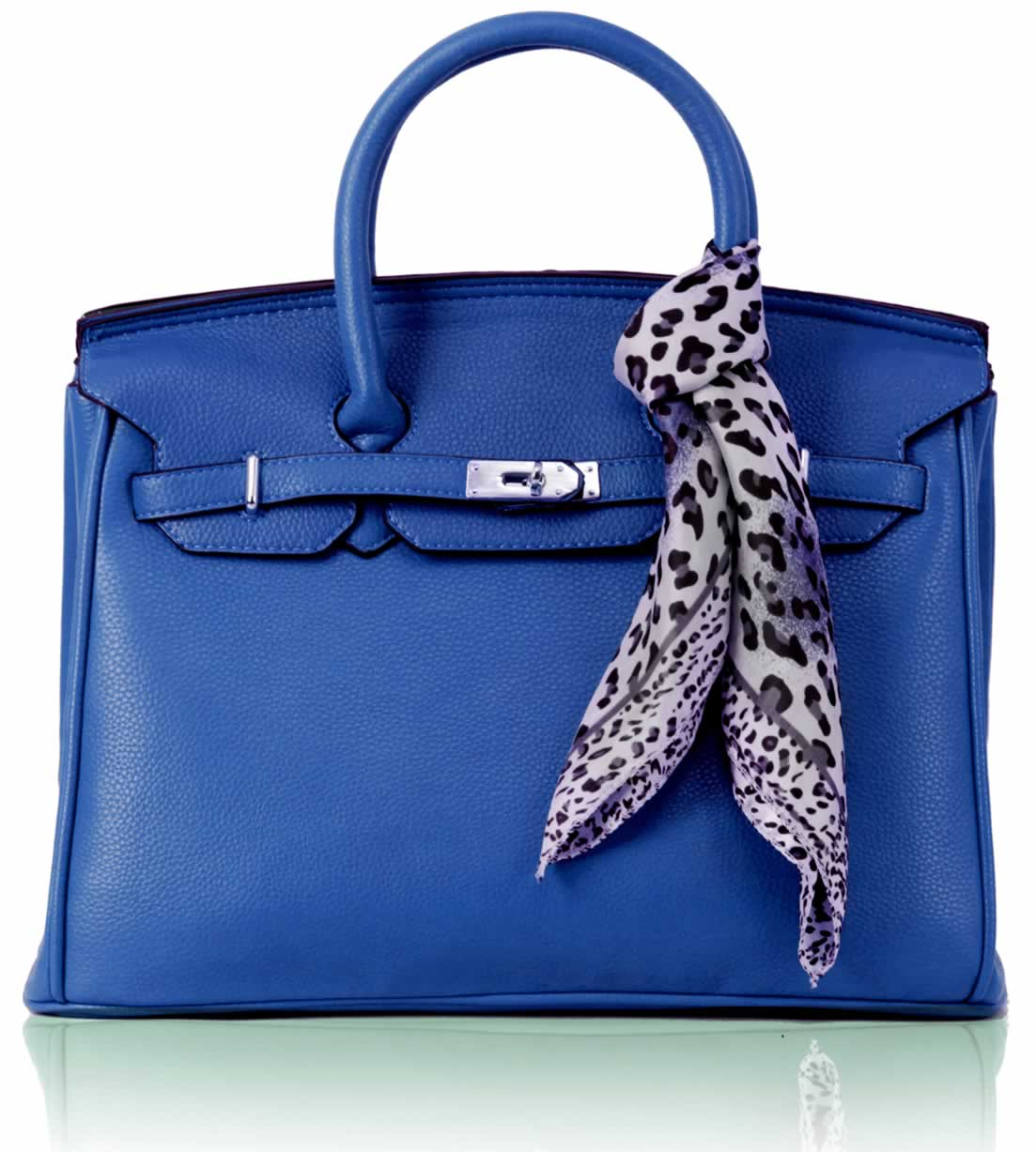 Kabelka LS0065 - Luxury Blue Tote Bag With Scarf