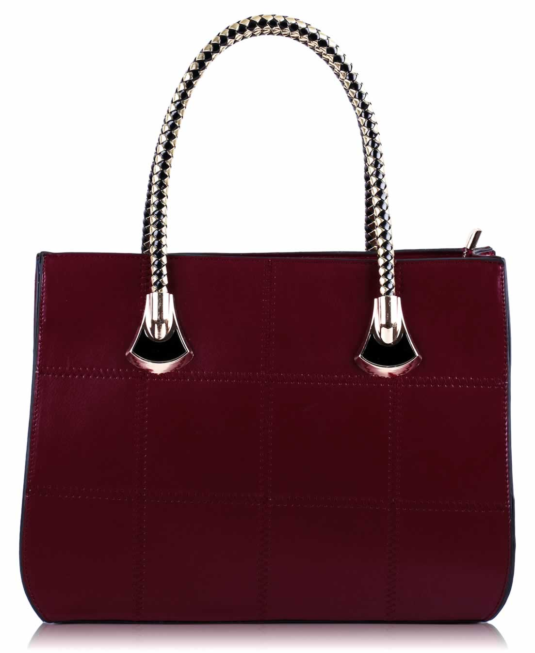 Kabelka LS00110 - Burgundy Checkered Grab Shoulder Bag