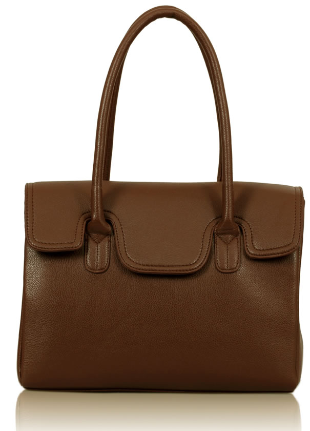 Kabelka LS0047 - Brown Ziptop Grab Shoulder Bag