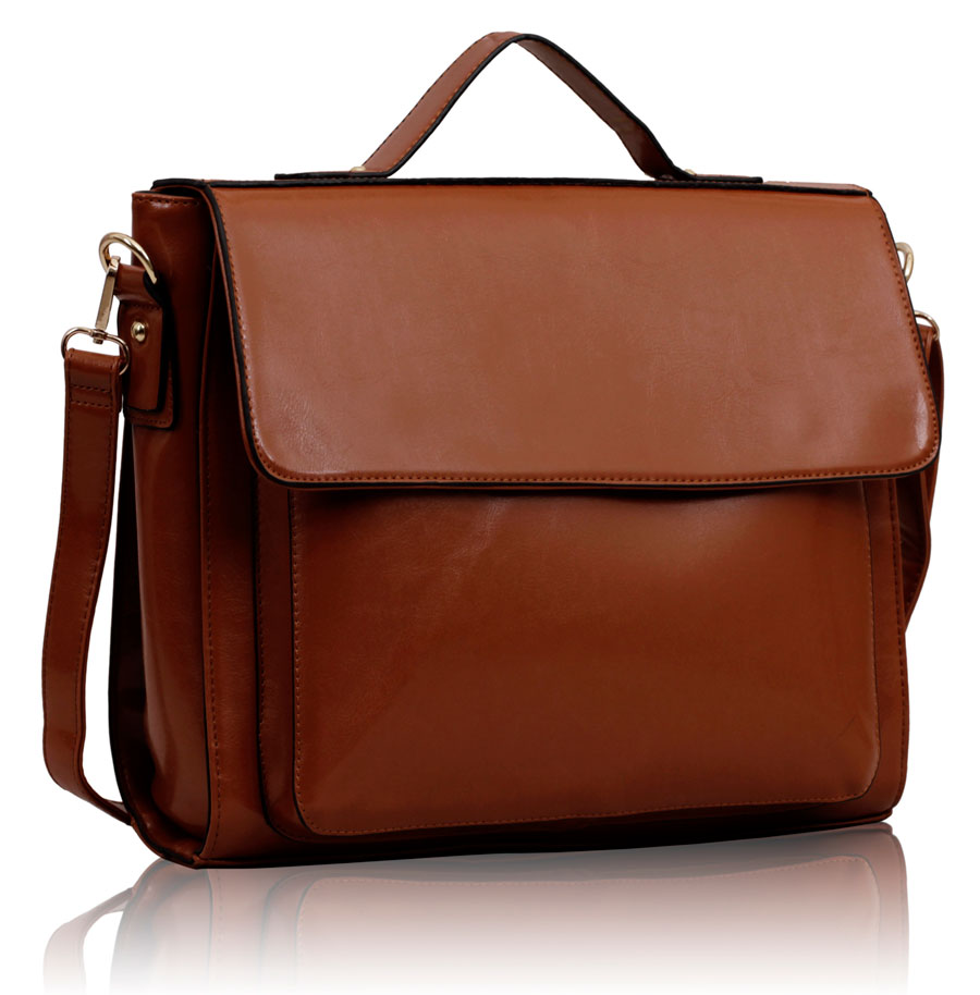 Kabelka LS00189 - Brown Flap Over Shoulder Bag