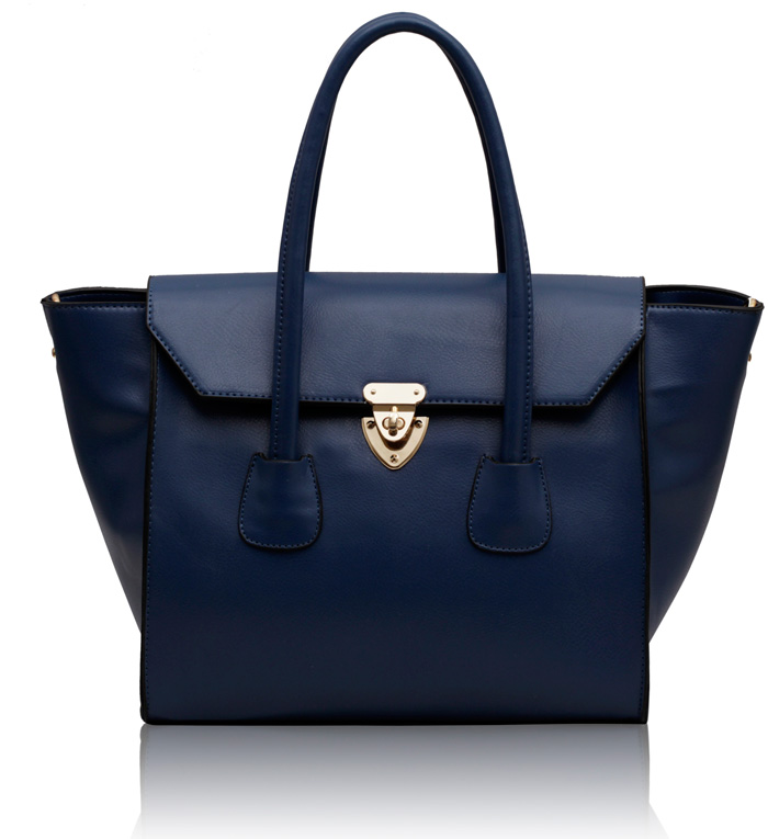 Kabelka LS00183 - Navy Twist Lock Shoulder Handbag