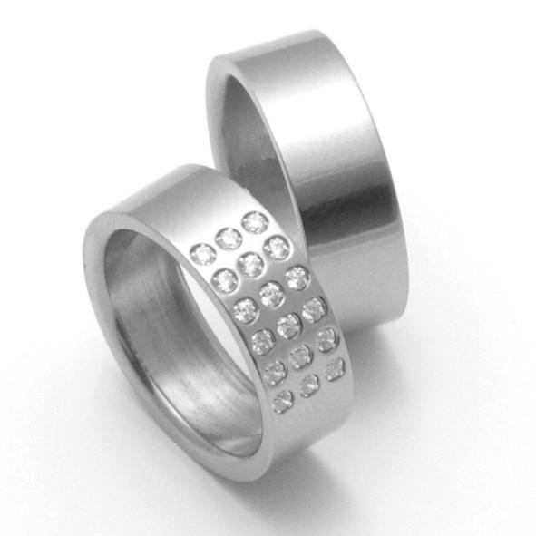 Snubní Titanové prsteny ZERO Collection TTN2802+TTN2801 (Snubní Titanové prsteny ZERO Collection TTN2802+TTN2801)