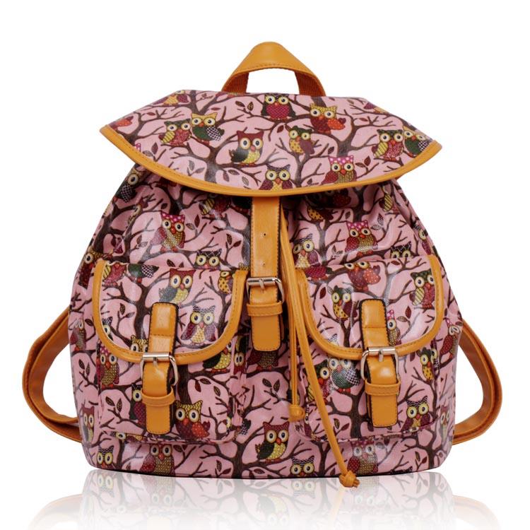Batoh LS00270 - Pink Oilcloth Owl Design Rucksack