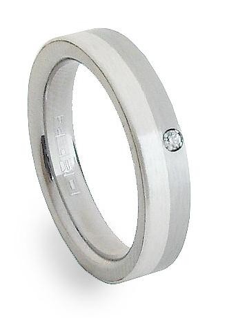 Ocelový prsten se stříbrem ZAG04302 (Ocelový prsten se stříbrem ZAG04302)