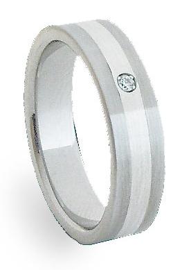 Ocelový prsten se stříbrem ZAG06101 (Ocelový prsten se stříbrem ZAG06101)