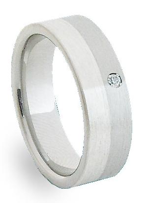 Ocelový prsten se stříbrem ZAG06302 (Ocelový prsten se stříbrem ZAG06302)