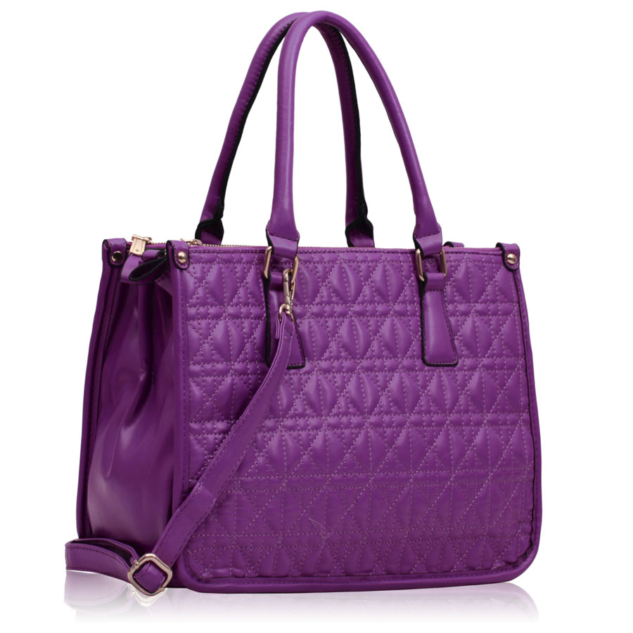 Kabelka LS00215A - Purple Three Zipper Quilted Tote