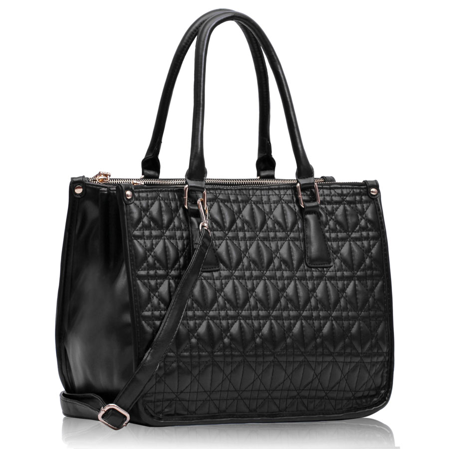 Kabelka LS00215A - Black Three Zipper Quilted Tote