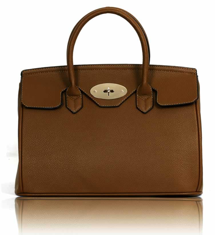 Kabelka LS001112 - Coffee Twist-Lock Closure Tote Bag