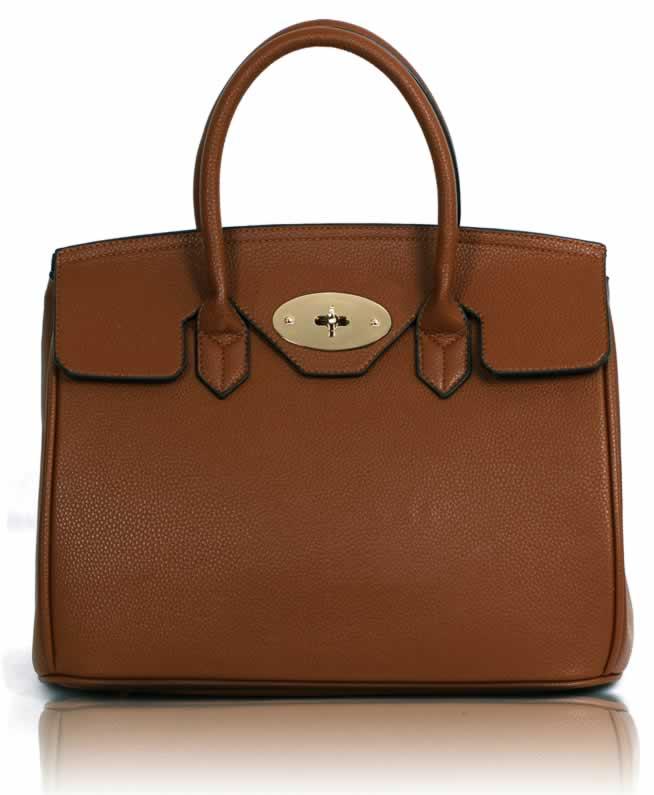 Kabelka LS001112 - Brown Twist-Lock Closure Tote Bag