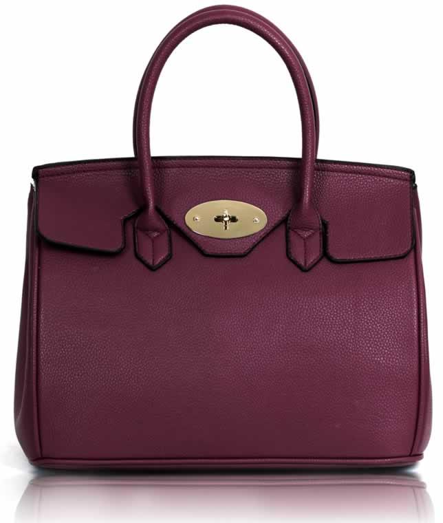 Kabelka LS001112 - Purple Twist-Lock Closure Tote Bag