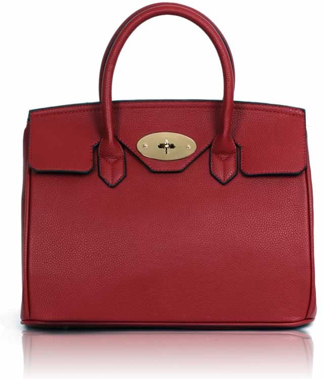 Kabelka LS001112 - Red Twist-Lock Closure Tote Bag