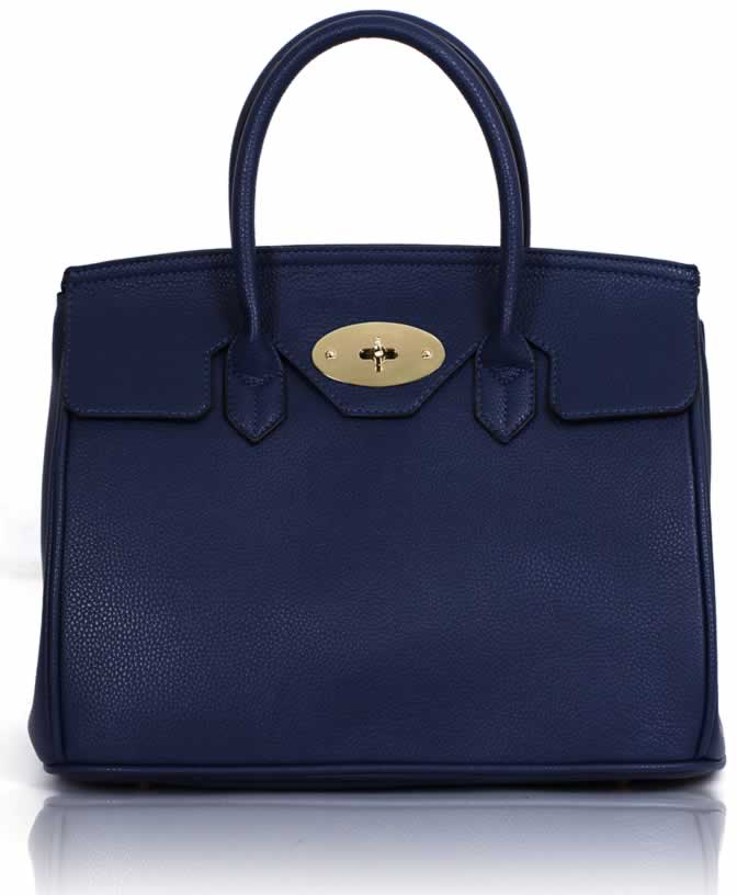 Kabelka LS001112 - Navy Twist-Lock Closure Tote Bag