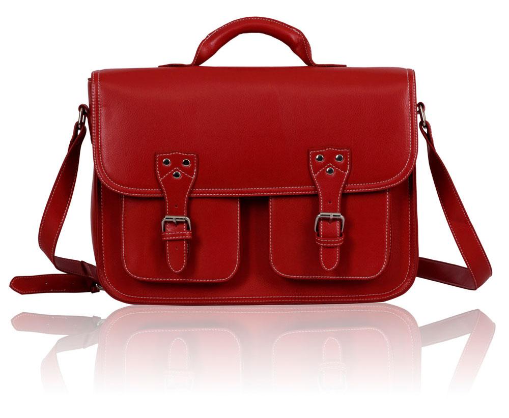 Kabelka LS00162 - Red Double Pocket Old School Satchel