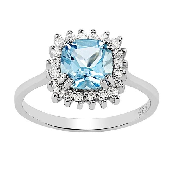 36e88894d GIO CARATTI čtvercový prsten ze stříbra s Topazem