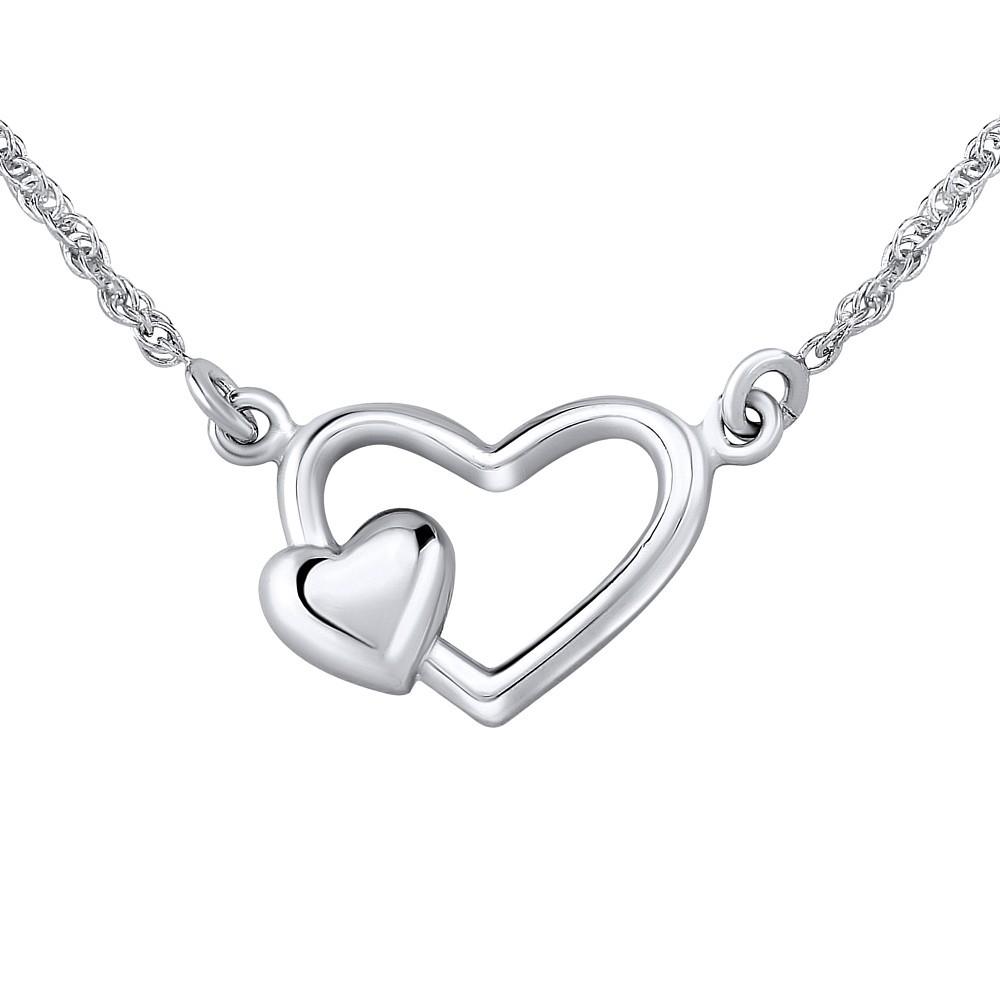 825d6e1b8 Stříbrný náhrdelník dvojité srdce Stříbrný náhrdelník dvojité srdce