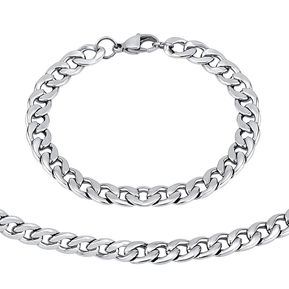 0c02e9c6a ... Ocelový set náramku a náhrdelníku CURB 8 mm