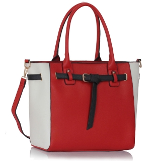 Kabelka LS00330 - Red / White Tote Handbag Features Buckle Belts