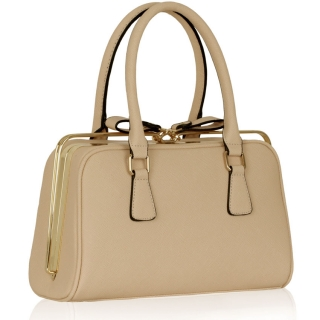 Kabelka LS00311 - Nude Grab Bag With Metal Frame