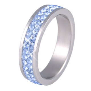 Prsten RSSW02 light sapphire s krystaly Swarovski Elements