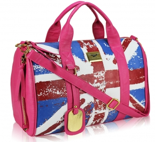 Kabelka LS00148F- Pink Union Jack Barrel Bag With Long Strap