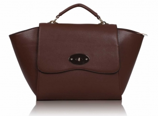 Kabelka LS00116 - Brown Flap Satchel