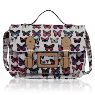 Kabelka  LS00226E - White butterfly Design Satchel
