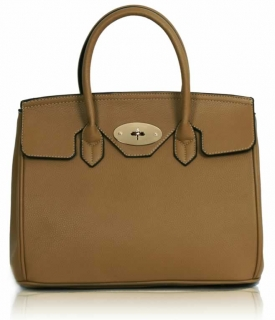 Kabelka LS001112 - Nude Twist-Lock Closure Tote Bag