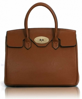 Kabelka LS001112 - Brown Twist-Lock Closure Tote Bag